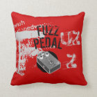 Fuzz Pedal, Black and Grey on Red Throw Pillow
