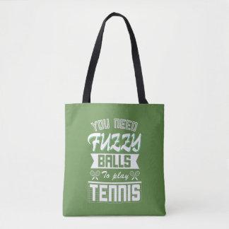 FUZZY BALLS for TENNIS (Wht) Tote Bag