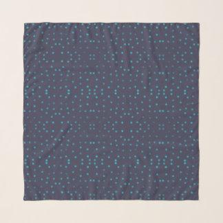 Fuzzy blue polka dot scarf
