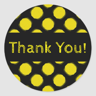 Fuzzy Bright Yellow and Black Polka Dots Thank You Round Sticker