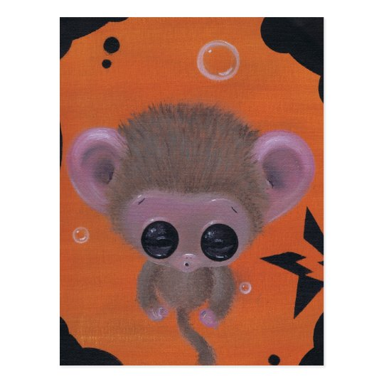 fuzzy bubble monkey postcard