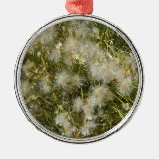 Fuzzy Bush Silver-Colored Round Ornament