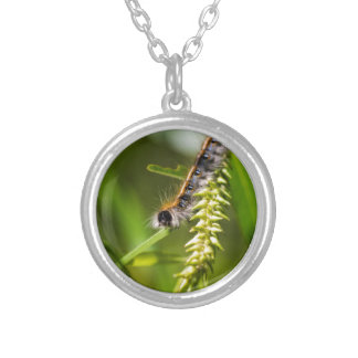 Fuzzy Eastern Tent Worm Caterpillar Silver Plated Necklace