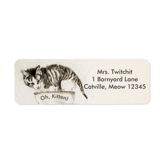 Fuzzy Little Kitten in Bowl Pencil Drawing Return Address Label