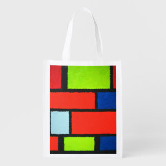 Fuzzy Mondrian Orange Green Abstract Grocery Bags