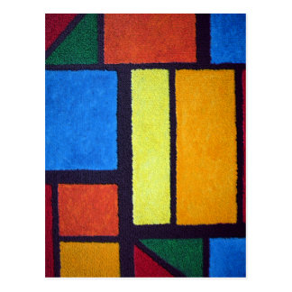 Fuzzy Mondrian Red Abstract Green Postcard