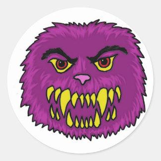 Fuzzy Monster Art Classic Round Sticker