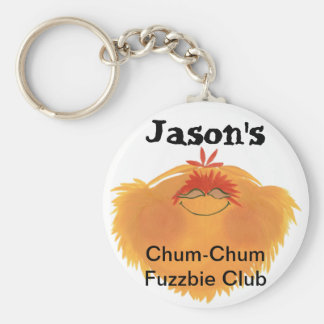 Fuzzy Monster Cartoon Character Basic Round Button Keychain