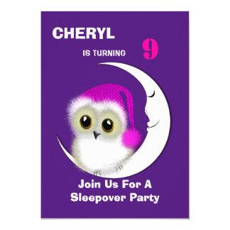 """Fuzzy Night Owl Sleepover Personalized 5"""" X 7"""" Invitation Card"""