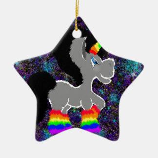 Fuzzy rainbow space unicorn ceramic ornament