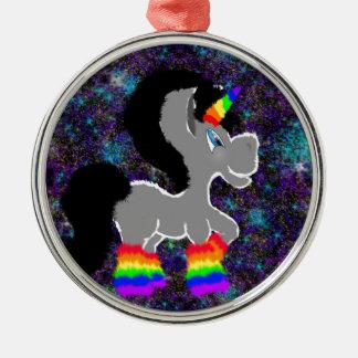 Fuzzy rainbow space unicorn metal ornament