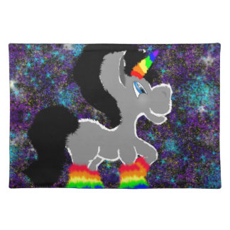 Fuzzy rainbow space unicorn placemat