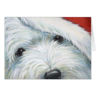 """Fuzzy Santa"" Westie Christmas card by Borgo"