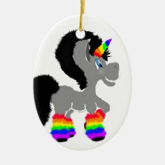 Fuzzy Unicorn Ceramic Ornament