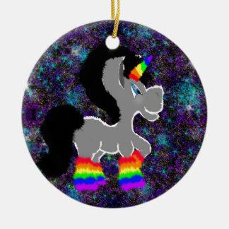 Fuzzy Unicorn in Space Ceramic Ornament