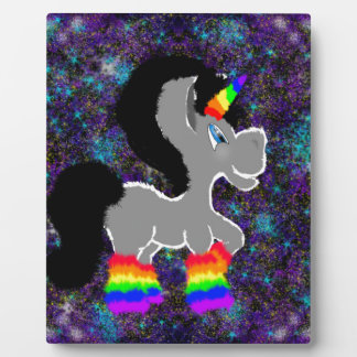 Fuzzy Unicorn in Space Plaque