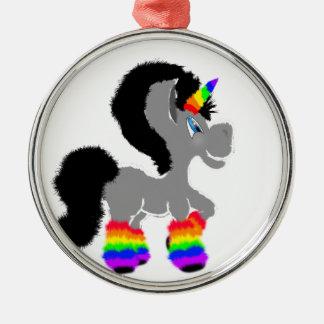 Fuzzy Unicorn Metal Ornament