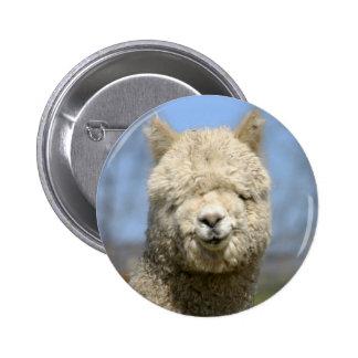 Fuzzy White Alpaca Face Pinback Button