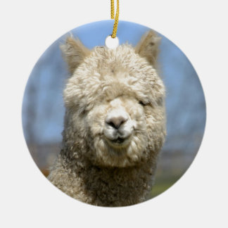 Fuzzy White Alpaca Face Round Ceramic Ornament