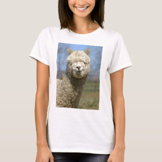 Fuzzy White Alpaca Face T-Shirt