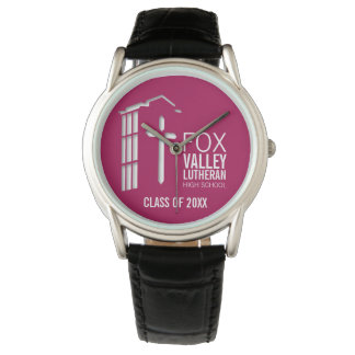 FVLHS Bell Tower on Maroon Background Wrist Watch