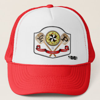 FXPizza TL Blk w wht BG, FXP LOGO w dot com 1 Trucker Hat