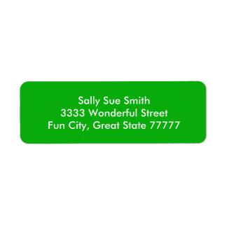 G05 Green Color Return Address Label