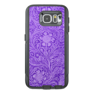 G1 Purple Floral pattern Suede leather Look OtterBox Samsung Galaxy S6 Case