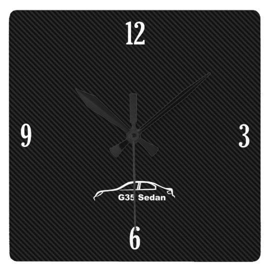G35 Sedan Brushstroke Logo Square Wall Clock