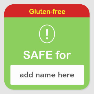 g4 - SAFE FOOD LABEL w/ Custom Name ~ GLUTEN-FREE. Square Sticker