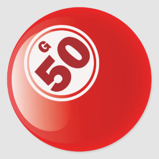 G 50 BINGO BALL ROUND STICKER