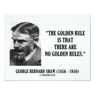 """G. B. Shaw Golden Rule No Golden Rules Quote 4.25"""" X 5.5"""" Invitation Card"""