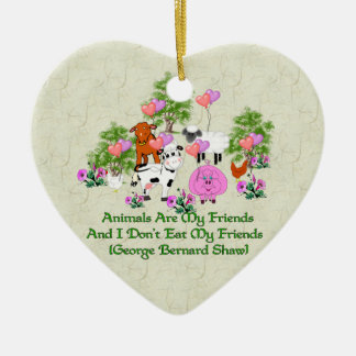 G. B. Shaw Vegetarian Quote Ceramic Ornament