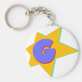 G Character Basic Round Button Keychain