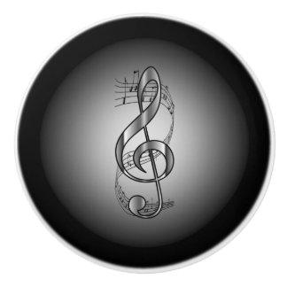 G Clef ~ Musical Scroll ~Silver/Black Background ~ Ceramic Knob