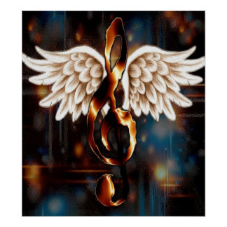 G Clef with Wings Posters