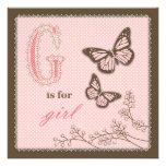 G est pour la carte de carré de fille invitations