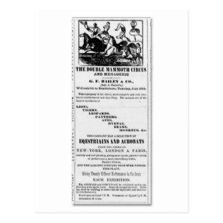 G.F. Bailey & Co. Double Mammoth Circus Ad Postcard