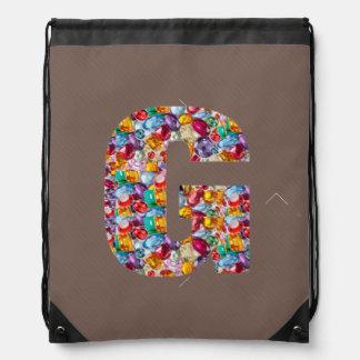 g gg ggg alpha initial name Birthday HappyBirthday Drawstring Backpack