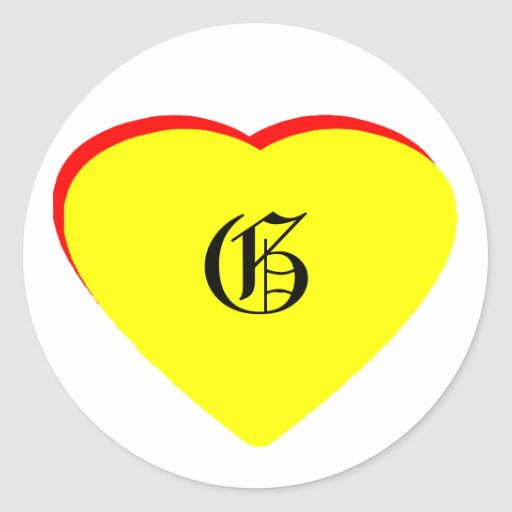 """""""G"""" Heart Yellow Red Wedding Invitation The MUSEUM Round Stickers"""