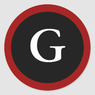 G : Initial G Letter G Red, White & Black Stickers