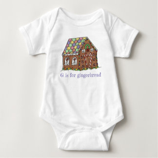 G is for Gingerbread House Christmas Holiday Food Baby Bodysuit
