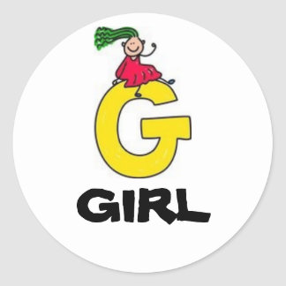 G is for GIRL Classic Round Sticker