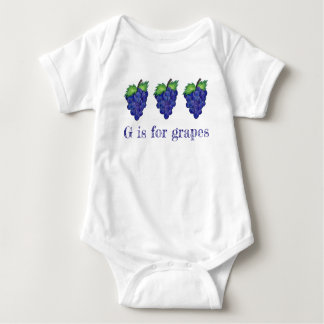 G is for Grapes Purple Bunch Fruit Alphabet ABCs Baby Bodysuit