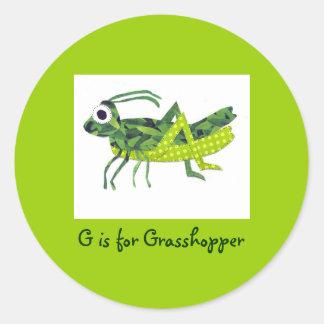 G is for Grasshopper Round Sticker