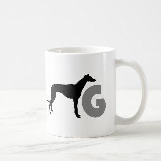 G is for greyhound coffee mug