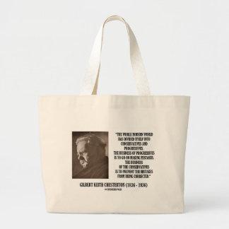 G.K. Chesterton Conservatives Progressives Mistake Jumbo Tote Bag