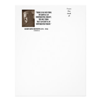 G.K. Chesterton Uninteresting Subject Uninterested Customized Letterhead