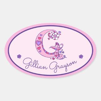 G letter monogram custom girls name pink stickers