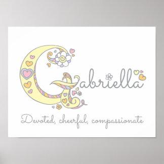 G monogram art Gabriella girls name meaning poster